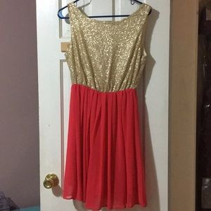 Sparkly sequined pink and gold party dress